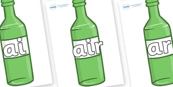 Phase 3 Phonemes on Green Bottles - Phonemes, phoneme, Phase 3, Phase three, Foundation, Literacy, Letters and Sounds, DfES, display