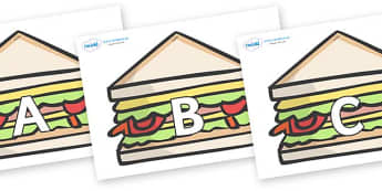 A-Z Alphabet on Sandwiches to Support Teaching on The Lighthouse Keeper's Lunch - A-Z, A4, display, Alphabet frieze, Display letters, Letter posters, A-Z letters, Alphabet flashcards