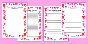 Mother's Day I Love My Mum Because Full Page Borders Arabic Translation - arabic, page border, border, frame, writing frame, writing template, mothers day, mothers day page borders, i love my mum borders, i love my mum writing frame, mothers day writ