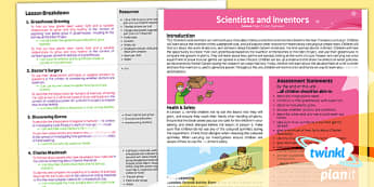 PlanIt - Science Year 2 - Scientists and Inventors Planning Overview - planit, science, year 2, scientists and inventors, planning overview