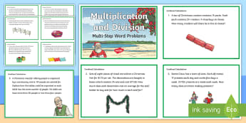 Multiplication and Division Multi-step Word Problems Maths Challenge Cards - maths, multiplication, division, christmas, problems, New zealand, Year 4-6