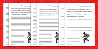 Christmas Story Starter Thief - christmas, xmas, story, starter, story starter, stories, writing, writing stories, thief, story starter about a theif, writing inspiration, literacy, writing aid, creative writing, writing prompt