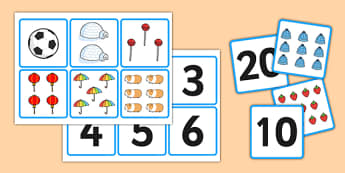 1-20 Number and Quantity Matching Cards - number matching cards, number and image matching cards, number and quantity matching cards, 1-20 matching cards