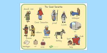 The Good Samaritan Word Mat - usa, america, the good samaritan, samaritan, help, helping, word mat, writing aid, mat, jewish, thieves, bible story, Jesus, priest, Levite, kind, good samaritan