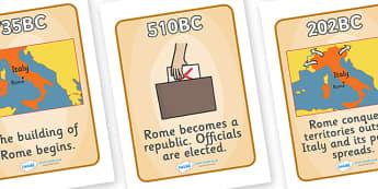 Roman Empire Timeline Posters - Romans, Rome, Roman Empire, timeline, timeline posters, poster, sign, banner, colosseum, pantheon, Julius Caesar, emperor, gladiator, amphitheatre