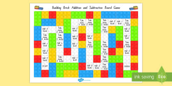 Building Brick Addition and Subtraction Board Game - New Zealand, maths, adding, addition, numbers to 20, Years 1-3, age 5, age 6, age 7, lego, board gam
