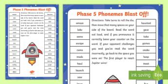 Phase 5 Blast Off Partner Game - phase five, phases, games, phonics, grapheme, phoneme, reading, game, phonics screening practise