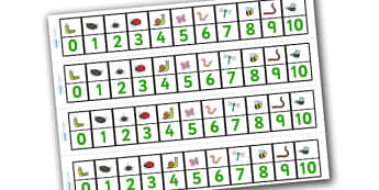 Minibeasts Number Track (1-10) - Maths, Math, number track, farm, numbertrack, Counting, Numberline, Number line, Counting on, Counting back, minibeast, knowledge and understanding of the world, investigation, living things, snail, bee, ladybird, but