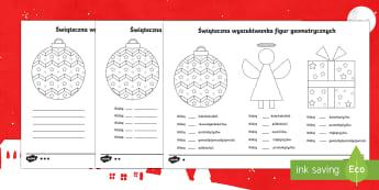 Karty Świąteczna wyszukiwanka figur geometrycznych - święta, gwiazdka, gwiazdor, prezenty, mikołaj, figury, geometryczne, geometria, matematyka, obraz