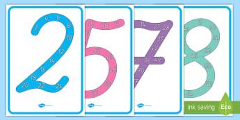 Vielfache Poster für die Klassenraumgestaltung - Zahlen, Multiplizieren, Multiplikation, Malnehmen, Zahlen, Druckschrift, Schreibschrift, Vereinfacht