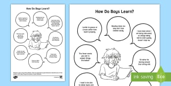 How Do Boys Learn? Fact Sheet - Boys learning, Boys Studying, inset, Training, Support