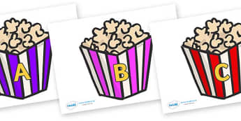 A-Z Alphabet on Popcorn - A-Z, A4, display, Alphabet frieze, Display letters, Letter posters, A-Z letters, Alphabet flashcards