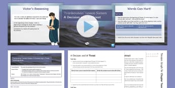 Frankenstein Lesson 16: A Decision and a Threat Chapter 20 Lesson Pack - Frankenstein, Victor, Chapter 20, language, tension.