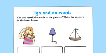 igh' and 'oa' Sounds Matching Activity Worksheet - 'igh', 'oa', sounds, matching, activity, worksheet, match, letters and sounds