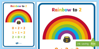 Rainbow to Ten Display Poster - numeracy, number bonds, rainbow facts, 1-10, number bonds, number bonds poster, number bonds to 10 poster, rainbow number bonds, rainbow addition poster, rainbow