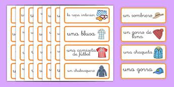 Tarjetas de vocabulario de la tienda de ropa - juego de rol, tienda, vender