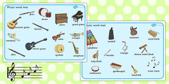 Music Word Mat - Word mat, Music, instrument, writing aid, playing instruments, piano, drums, guitar, recorder, violin, triangle, cymbals, notes, music