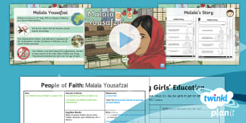PlanIt - RE Year 4 - People of Faith Lesson 1: Malala Yousafzai Lesson Pack - Malala Yousafzai, Muslim, Islam, Taliban, education, girls, differences, UN