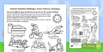 Summer Holiday Challenges English/Afrikaans - summer, holidays, summer holidays, activities, games, ideas, challenges, homework, homework, home le