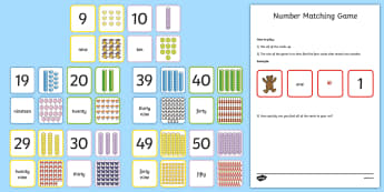 Number 0-50 Matching Cards - Year 1 Maths Mastery, counting, deeper understanding, numerals, words, shapes, arrays, justify, reas