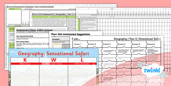 PlanIt - Geography Year 2 - Sensational Safari Unit Assessment Pack - planit, geography, safari, year 2