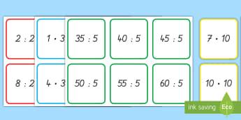 Malnehmen und Teilen: Die 2er , 3er , 5er und 10er Reihe : DIN A4 Karteikarten - Arbeitsblatt, Multiplizieren, Multiplikation, Malnehmen, Rechnen, Mathe, Mathematik, Einmaleins, 1x1