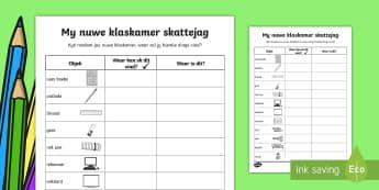 My nuwe klaskamer skattejag - my nuwe klaskamer skattejag, nuwe jaar, nuwe klas, klaswerk, skattejag, skryf, klaskamer.