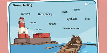 Grace Darling Word Mat - visual aid, significant individuals