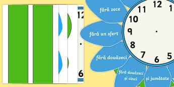 Ceas analogic în formă de floare - timpul, unități de măsură, activități, română, activitate, citirea ceasului,Romanian