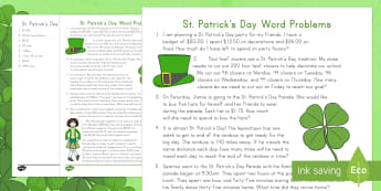 St. Patrick's Day Math Word Problems Grades 3-5 Activity Sheet - St. Patrick's Day, Ireland, Math, Multiplication, Division, Time, Money, Word Problems