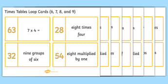 Loop Cards 6, 7, 8 and 9 Times Tables - Loop cards, cards, 6,7, 8, 9, times, table, multiple, multiples, multiplication, Maths, numbers, numeracy, KS2, activity, game, times table, times tables