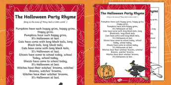 The Halloween Party Rhyme - halloween, hallowe'en, party, rhyme, festival, celebration, holiday