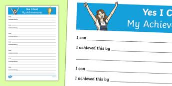 Yes I Can! My Achievements KS2 Activity Sheet, worksheet