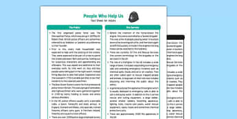EYFS People Who Help Us Fact Sheet for Adults - EYFS planning, early years understanding the world, occupations, jobs