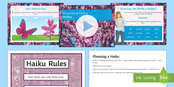 Recognising Haikus Lesson Teaching Lesson Pack - Recognise Different Forms of Poetry Haiku Lesson Teaching Pack, teeach, poerty, petry, poety, peotry