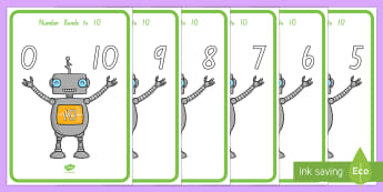 Number Bonds to 10 Robots Display Posters - New Zealand, maths, number bonds, numbers to 10, Years 1-3, adding, family of facts