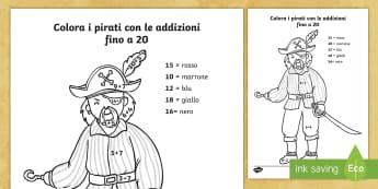 Colora i pirati con le addizioni fino a 20 Attività - addizioni, operazioni, matematica, somma, fino, a , 20, colora, colorare, pirati, italiano, italian,