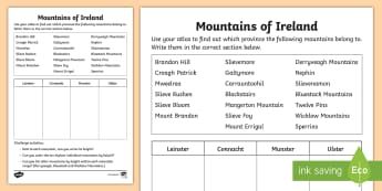 Mountains of Ireland Activity Sheet - ROI - The World Around UsWAUIreland, Eire, mountains, geography, physical geography, local area, ord
