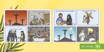 Die Ostergeschichte Bildergeschichte: DIN A4 Karteikarten - Die Ostergeschichte Bildergeschichte DIN A4 Karteikarten, Die Ostergesichte, Ostern, Osterzeit, Jesu