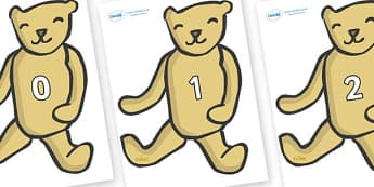 Numbers 0-100 on Old Teddy Bears - 0-100, foundation stage numeracy, Number recognition, Number flashcards, counting, number frieze, Display numbers, number posters