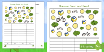 Summer Count and Graph Activity Sheet - summer, summer season, first day of summer, summertime, summer graph, summer math