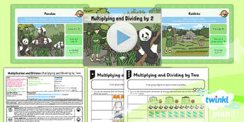 PlanIt Y1 Multiplication and Division Lesson Pack Multiplying and Dividing by Two (3) - grouping, sharing, same size groups, groups of two, two times table, planning