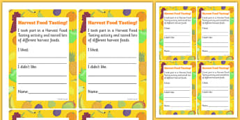 Harvest Food Tasting Cards - harvest, taste, like, dislike, writing, frame, test, senses, eat