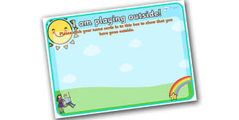 I Am Playing Outside Monitoring Chart - I am playing outside self registration, outside play self registration, outside play morning chart, playing outside