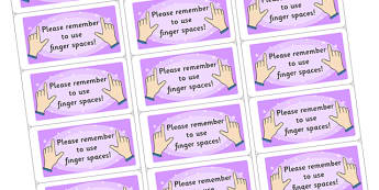 Time Saving Stickers for Marking Finger Spaces - marking, time saving, stickers, time saving stickers, stickers for marking, finger spaces, please remember to use finger spaces, time saving stickers for marking, help marking