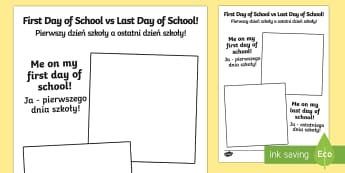First Day of School vs Last Day of School Picture Frame English/Polish - end, comparing, transition, new, growing, development,Polish-translation