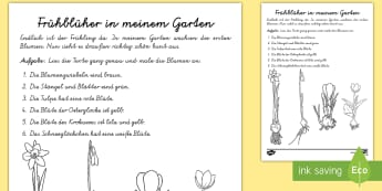Frühblüher in meinem Garten Arbeitsblatt: Lesen und Malen - spring, flowers, Frühling, Frühblüher, Tulpe, Krokus, Narzisse, Osterglocke, Schneeglöckchen, tu