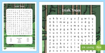 Irish Trees Word Search - ROI- National Tree Week 5th - 12th March, trees, ireland, ash, oak, beech, sycamore, horse chestnut,