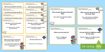 Guided Reading Question Cards English/Romanian - question, cards, guided reading, reading, guiding, help, aid, read, flashcard