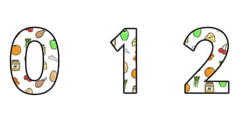 Healthy Eating Display Numbers - healthy eating, healthy eating themed numbers, healthy eating numbers, healthy eating display, healthy food, health, ks2